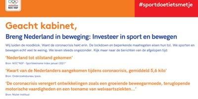 Manifest Breng Nederland in beweging: Investeer in sport en bewegen