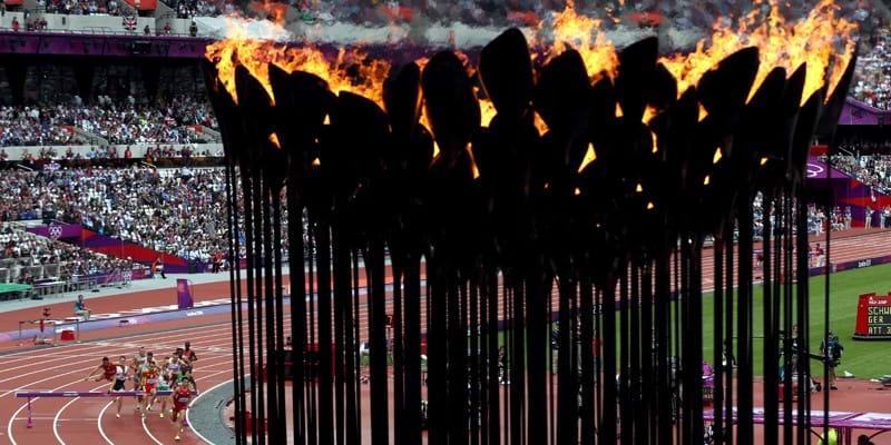Bladfakkel van olympische vlam London 2012